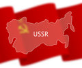 Outlines of soviet union on national flag background stylized outline map socialist republics inscription ussr over the image Royalty Free Stock Images