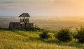 Outlook tower on the hill braunsberg in town of hainburg austria at sunset Stock Photography