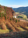 Outlook from tupa skala slovakia aerial autumn viewing ostra rocky fromation part of vysnokubinske skalky and Stock Photo