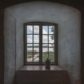 Outlook the from a window in the old distillery at wik castle uppland sweden Royalty Free Stock Photo