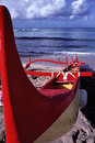 Outrigger boat on Oahu Beach in Hawaii. Royalty Free Stock Photo