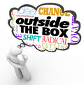 Outside the box thinking person creativity innovation words above head of a in a thought cloud along with terms idea Stock Photography