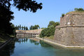 Outside city walls peschiera del garda italy view along the water in the moat the ancient at Royalty Free Stock Image
