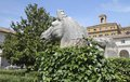Outside gardens horse sculptures in roma national museum garden Royalty Free Stock Photo