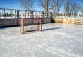 Outside hockey rink on a snowy day with a lot of snow Stock Photography