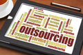 Outsourcing word cloud Royalty Free Stock Images