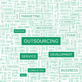 Outsourcing word cloud illustration tag cloud concept collage usable for different business design Stock Image