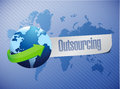 Outsourcing world map illustration design over a blue background Stock Images