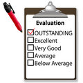 Outstanding job evalution clipboard check mark pen Stock Image
