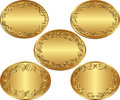 Oval backgrounds set of golden Stock Photo