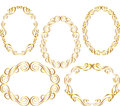 Oval border isolated golden vector illustration Stock Image