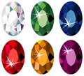 Oval cut precious stones with sparkle Stock Photo