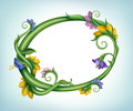 Oval empty frame made green stem leaves spring summer flowers Stock Images