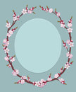 Oval frame of flowers Stock Image
