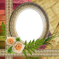 Oval frame with flowers Royalty Free Stock Photo