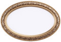 Oval gilded picture frame or mirror isolated on wh Royalty Free Stock Photo
