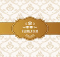 Oval golden frame vector. Luxury packing in art deco style. Royalty Free Stock Photo