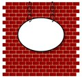 Oval sign on bricks wall white background Royalty Free Stock Photos