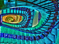 Oval staircase down in a cheap hotel Royalty Free Stock Images
