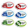 Oval stickers for virtual tour illustration Stock Photography