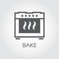 Oven bake icon drawing in flat style for different cooking projects or kitchen interior design