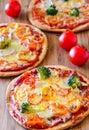 Oven fresh vegetarian Pizzas Royalty Free Stock Photo
