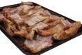 Oven fried pieces van vissen Stock Foto