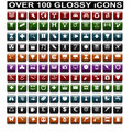 Over 100 Glossy Icons Royalty Free Stock Image