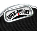 Over-Budget Words on Scale Financial Trouble Debt Deficit Royalty Free Stock Photography
