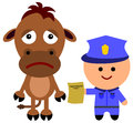 Over speeding animal illustration of a police man giving a horse an ticket Royalty Free Stock Photo