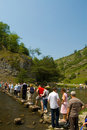 Over the stepping stones,dovedale Royalty Free Stock Photo