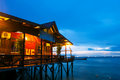 Over water bungalow with bule sky Stock Photos