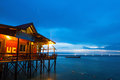 Over water bungalow with bule sky Stock Image