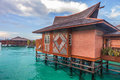 Over water bungalow with bule sky Stock Photography