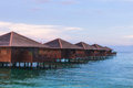 Over water bungalow with bule sky Royalty Free Stock Photo