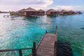 Over water bungalow with bule sky Royalty Free Stock Image