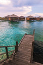 Over water bungalow with bule sky Royalty Free Stock Photos