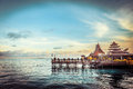 Over water bungalow with bule sky Stock Images