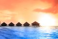 Over water bungalows with steps into amazing green lagoon Stock Photography