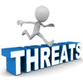 Overcome threats concept man jumping over word over white base Stock Image