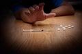 Overdose male drug addict hand, drugs narcotic syringe Royalty Free Stock Photo