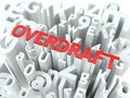 Overdraft the wordcloud concept word in red color surrounded by a alphabet cloud Royalty Free Stock Photos