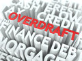Overdraft the wordcloud concept word in red color surrounded by a cloud of words gray Royalty Free Stock Image