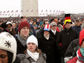 Overflow Crowd at the Monument Royalty Free Stock Photo