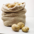 Overflowing bag of potatos on whit Royalty Free Stock Photo