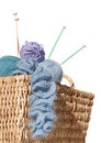 Overflowing knitter's basket Stock Image