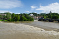 Overflowing in turin italy of the river po the city center of Royalty Free Stock Photography