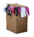 Overflowing wicker laundry basket  path Royalty Free Stock Photos