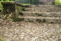 Overgrown cobblestone road and moss-covered steps in the park, i Royalty Free Stock Photo