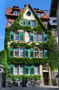 Overgrown house with wild vines in the city of konstanz Stock Image
